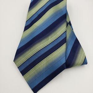 """Alfani Mens Necktie blue & green striped silk 58"""""""